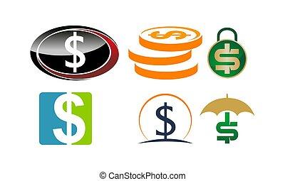 pieniądze, komplet, dolar, szablon