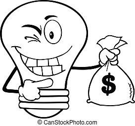 pieniądze, konturowany, bulwa, lekki