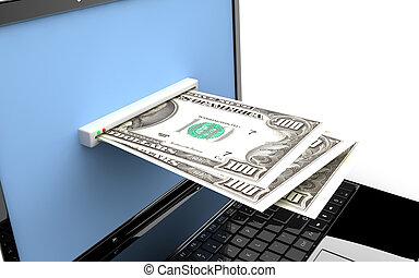 pieniądze, laptop