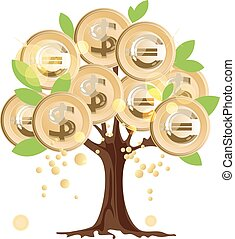 pieniądze, monety, drzewo