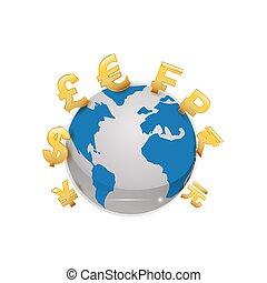 pieniądze, od, świat