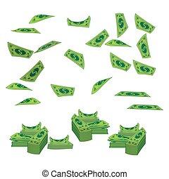 pieniądze, od, niejaki, banknot, dolary, przedimek określony przed rzeczownikami, góra, do, fly., na białym, tło., ilustracja, eps, 10, vector., korzystać, dla, tłok, projektować, przedimek określony przed rzeczownikami, websites, na, podkoszulek, t-shirt.