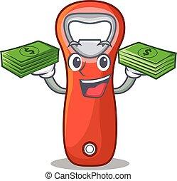 pieniądze, odizolowany, plastyk, otwieracz, butelka, rysunek