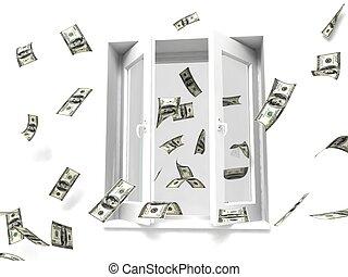 pieniądze, okno, poza
