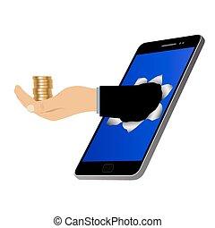 pieniądze., otwór, ekran, ręka