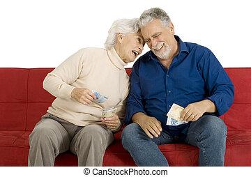 pieniądze, para, ręka, starszy, leżanka