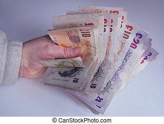 pieniądze, pełny, pięść