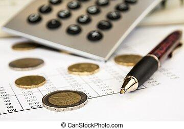 pieniądze, pióro i, kalkulator, głębokość pola