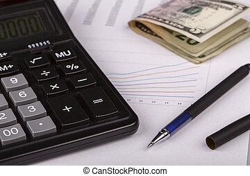 pieniądze, pióro, wykresy, handlowy, kalkulator