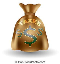 pieniądze, podatki, torba