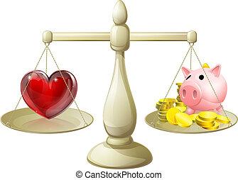 pieniądze, pojęcie, miłość, albo, waga