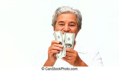 pieniądze, pokaz, kobieta, dojrzały, jej