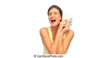 pieniądze, pokaz, kobieta, jej