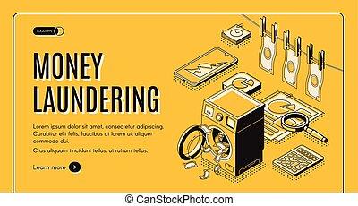 pieniądze pralnictwo, isometric, wektor, sieć, chorągiew