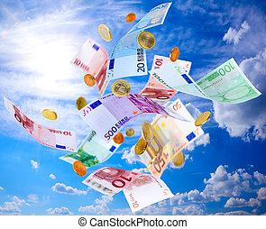 pieniądze, przelotny, euro