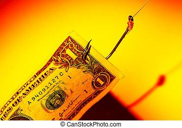 pieniądze, przynęta