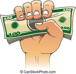 pieniądze, ręka, ludzie