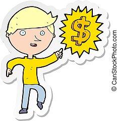 pieniądze, rzeźnik, człowiek, idea, rysunek