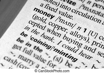 pieniądze, -, słownik, definicja, od, handlowy, słowo