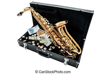 pieniądze, saksofon