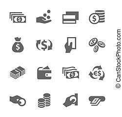 pieniądze, set., ikony