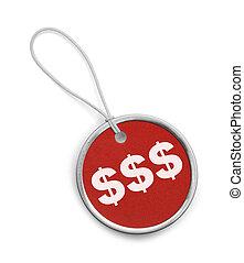pieniądze, skuwka, okrągły, czerwony