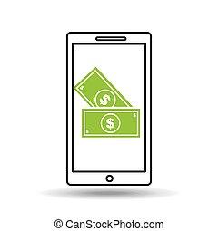 pieniądze, smartphone, pojęcie, halabarda dolara
