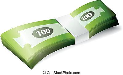 pieniądze, stóg, banknot