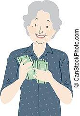 pieniądze, starsza kobieta, ilustracja