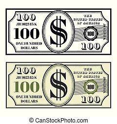 pieniądze, styl, czarnoskóry, barwny, dwa