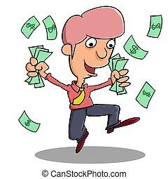 pieniądze, szczęśliwy, zdobywać