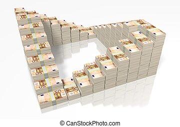 pieniądze, -, sztaplowany, 50, euro