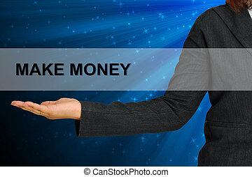 pieniądze, ustalać, kobieta handlowa, ręka