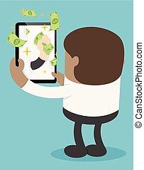 pieniądze, ustalać, online, afrykanin, biznesmen, szczęśliwy