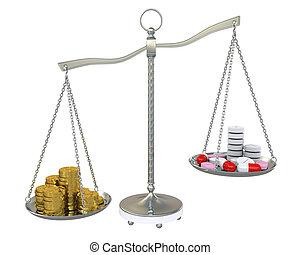 pieniądze, waga, pigułki, złoty, skalpy