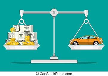 pieniądze, waga, wóz., skalpy