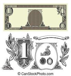 pieniądze, wektor, elementy