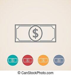 pieniądze, wektor, ikony