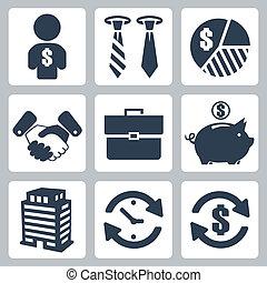 pieniądze, wektor, komplet, odizolowany, ikony