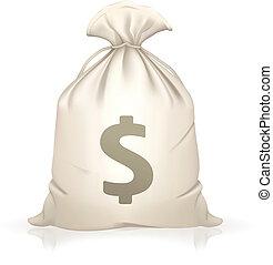 pieniądze, wektor, torba