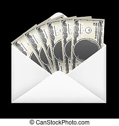 pieniądze, wnętrze, koperta, dolar, banknotes, 100, biały