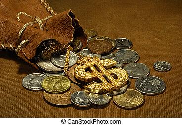 pieniądze, worek