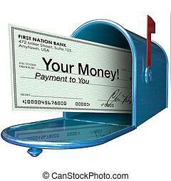 pieniądze, wpłata, skrzynka pocztowa, czek, twój