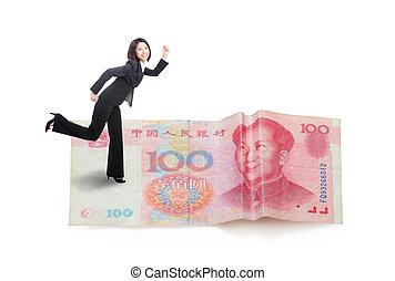 pieniądze, wyścigi, kobieta, młody, handlowy