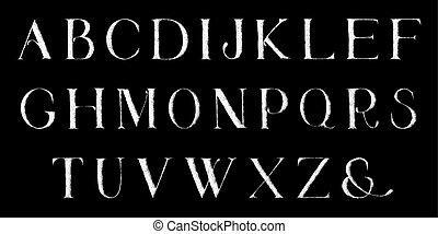 pieno, alphabet., mano, vettore, grunge, draw., letters.