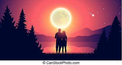 pieno, amore, romantico, stellato, coppia, cielo, lago, luna