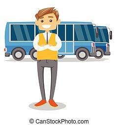 pieno, autobus, giovane, lunghezza, driver., caucasian bianco