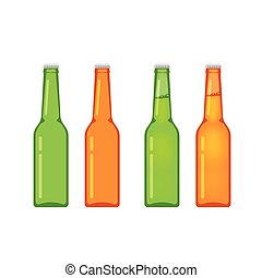 pieno, bottiglie, isolato, collezione, birra, vettore, bianco, vuoto