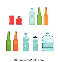 pieno, bottiglie, isolato, collezione, vettore, bianco, vuoto