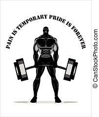 pieno, builder., silhouette, corpo